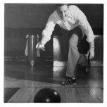 Man Bowling Large Square Tile