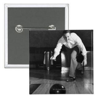 Man Bowling Pinback Button