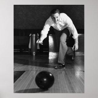 Man Bowling Poster