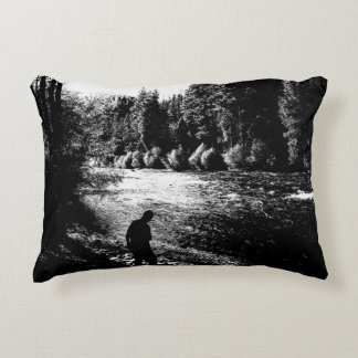 Man by The River Silhouette Original Art Accent Pillow