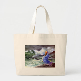 Man by the Stormy Sea Painting Canvas Bags