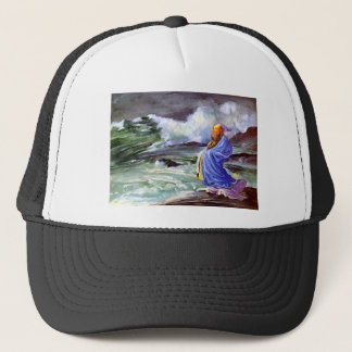 Man by the Stormy Sea Painting Trucker Hat
