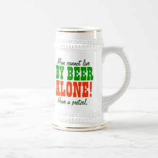 Man Cannot Live By Beer Alone 18 Oz Beer Stein