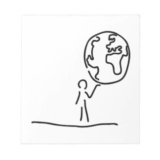 Man carries world world ball globe notepad