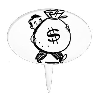 Man Carrying Money Bag Dollar Sign Cake Topper