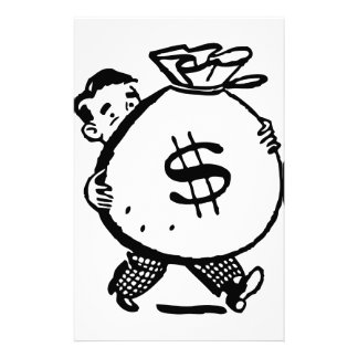 Man Carrying Money Bag Dollar Sign Stationery