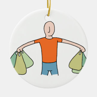 Man Carrying Plastic Grocery Bags Ceramic Ornament