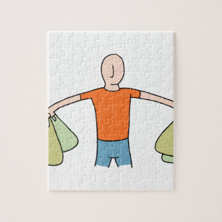 Man Carrying Plastic Grocery Bags Jigsaw Puzzle