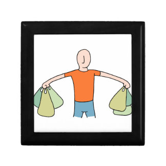 Man Carrying Plastic Grocery Bags Keepsake Box