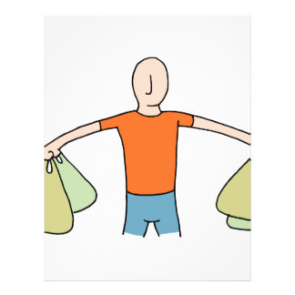 Man Carrying Plastic Grocery Bags Letterhead