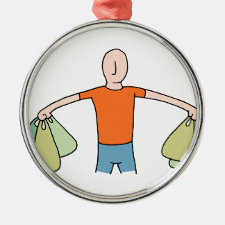 Man Carrying Plastic Grocery Bags Metal Ornament