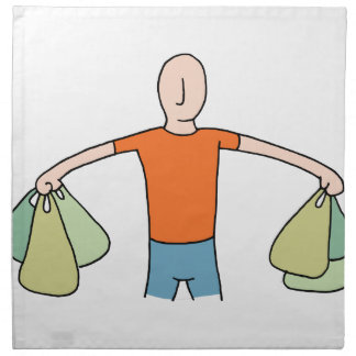 Man Carrying Plastic Grocery Bags Napkin