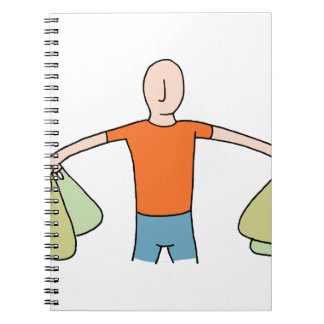 Man Carrying Plastic Grocery Bags Notebook