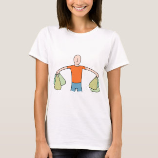 Man Carrying Plastic Grocery Bags T-Shirt