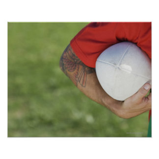 Man carrying rugby ball poster