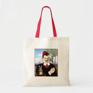 Man & Cat by Henri Rousseau Canvas Bags