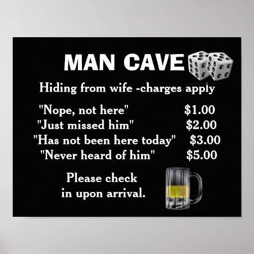 man cave art poster print zazzle. Black Bedroom Furniture Sets. Home Design Ideas
