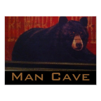 Man Cave Black Bear Posters