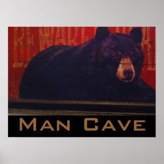 Man Cave Black Bear Poster