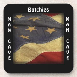 Man Cave CUSTOM Distressed American Flag Coaster
