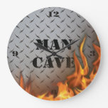 Man Cave Diamondplate Metal and Fire  Wall Clock