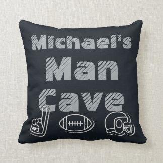 Man Cave Football Sports Team Black Silver Throw Pillow