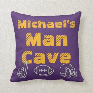Man Cave Football Sports Team Purple Gold Throw Pillow
