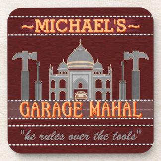 Man Cave Funny Garage Mahal Red   Custom Name Drink Coaster