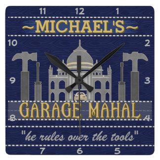 Man Cave Funny Garage Mahal Tools | Custom Name Square Wall Clock