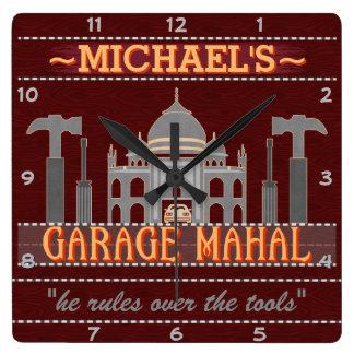 Man Cave Funny Garage Mahal Tools | Custom Name V2 Square Wall Clock