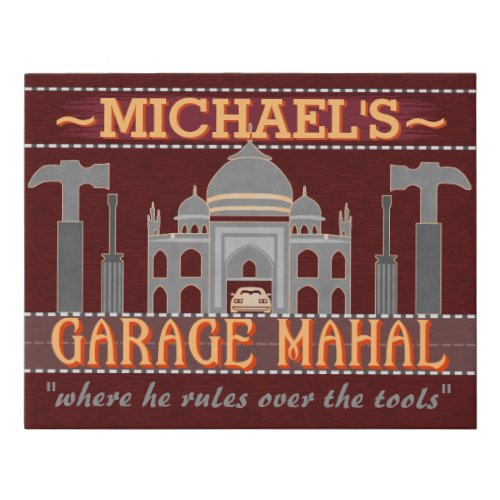 Man Cave Funny Garage Mahal Tools Red | Custom Faux