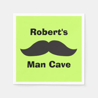 Man Cave Moustache on Lime Green Paper Napkin