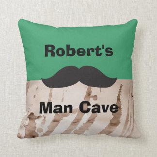 Man Cave Mustache Customizable Throw Pillow