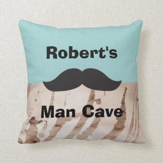 Man Cave Mustache Throw Pillow