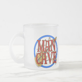 Man Cave, NAME add text Frosted Glass Coffee Mug