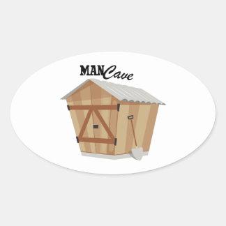 Man Cave Oval Sticker