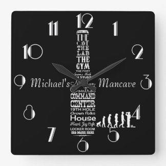 Man-cave Personalized Black and White Square Wall Clock