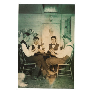 Man Cave Poker Game 1890 Photograph Men Texas Hold Wood Print