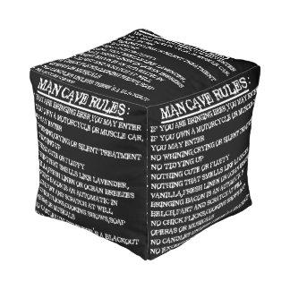 man cave rules cube pouf