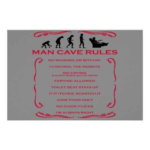Man Cave Poster Ideas : Man cave rules poster zazzle