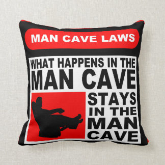 Man Cave Rules Throw Pillow