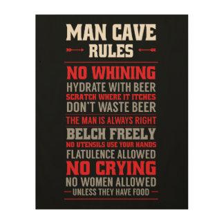 Man Cave Rules Wood Print