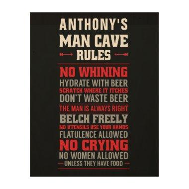 Man Cave Rules Wood Wall Art