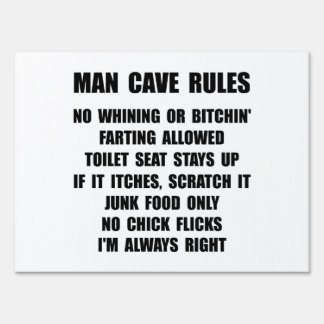 Man Cave Rules Yard Signs