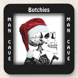 Man Cave Square  Skeleton Santa Coaster
