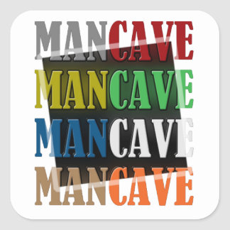 Man Cave Square Stickers