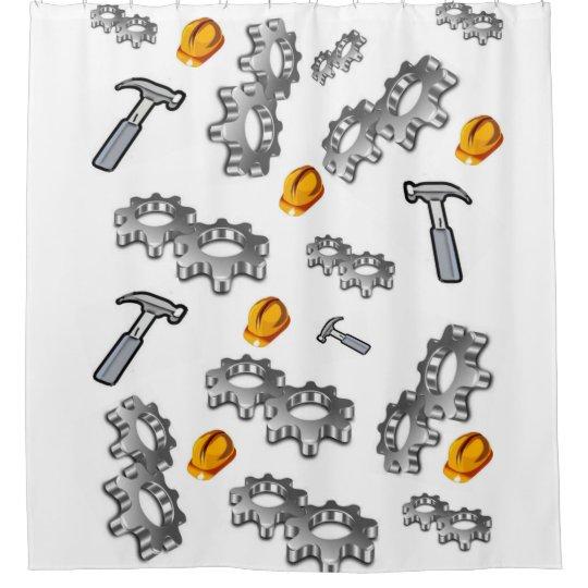 Man Cave Tools Hammer White Showercurtain Shower Curtain
