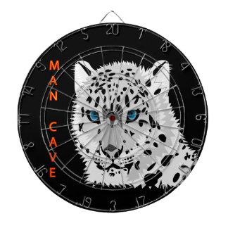 Man cave with a Leopard with black background Dartboard With Darts