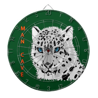 Man cave with a Leopard with green background Dartboard