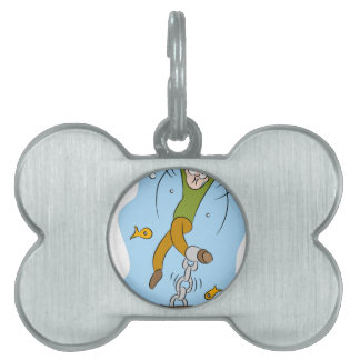 Man Chained To His House Underwater Cartoon Pet Name Tag